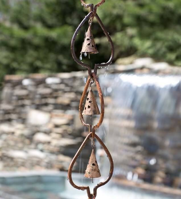 Steel Leaf and Temple Bell Rain Chain