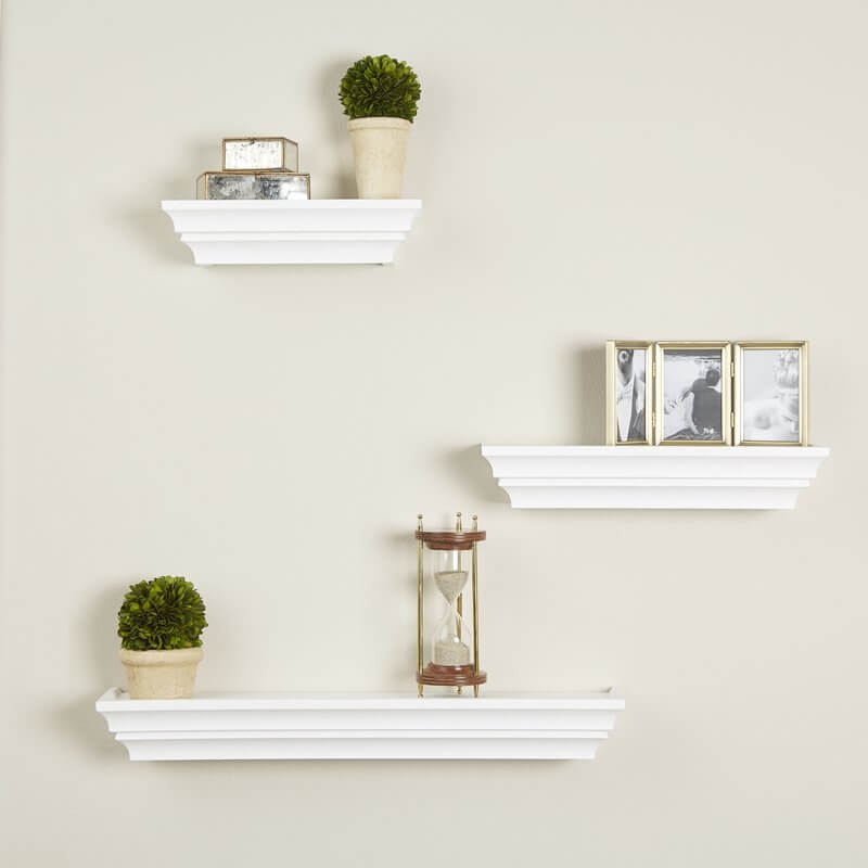 Traditional White Floating Shelves