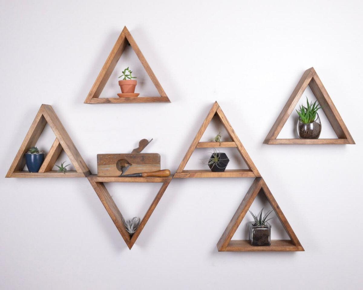 triangular floating shelves
