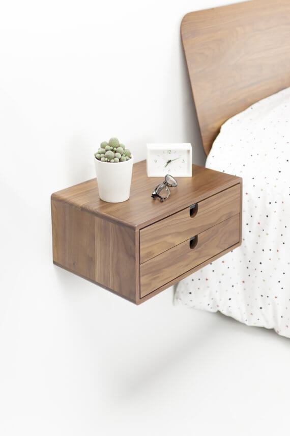 Walnut Floating Night Stand
