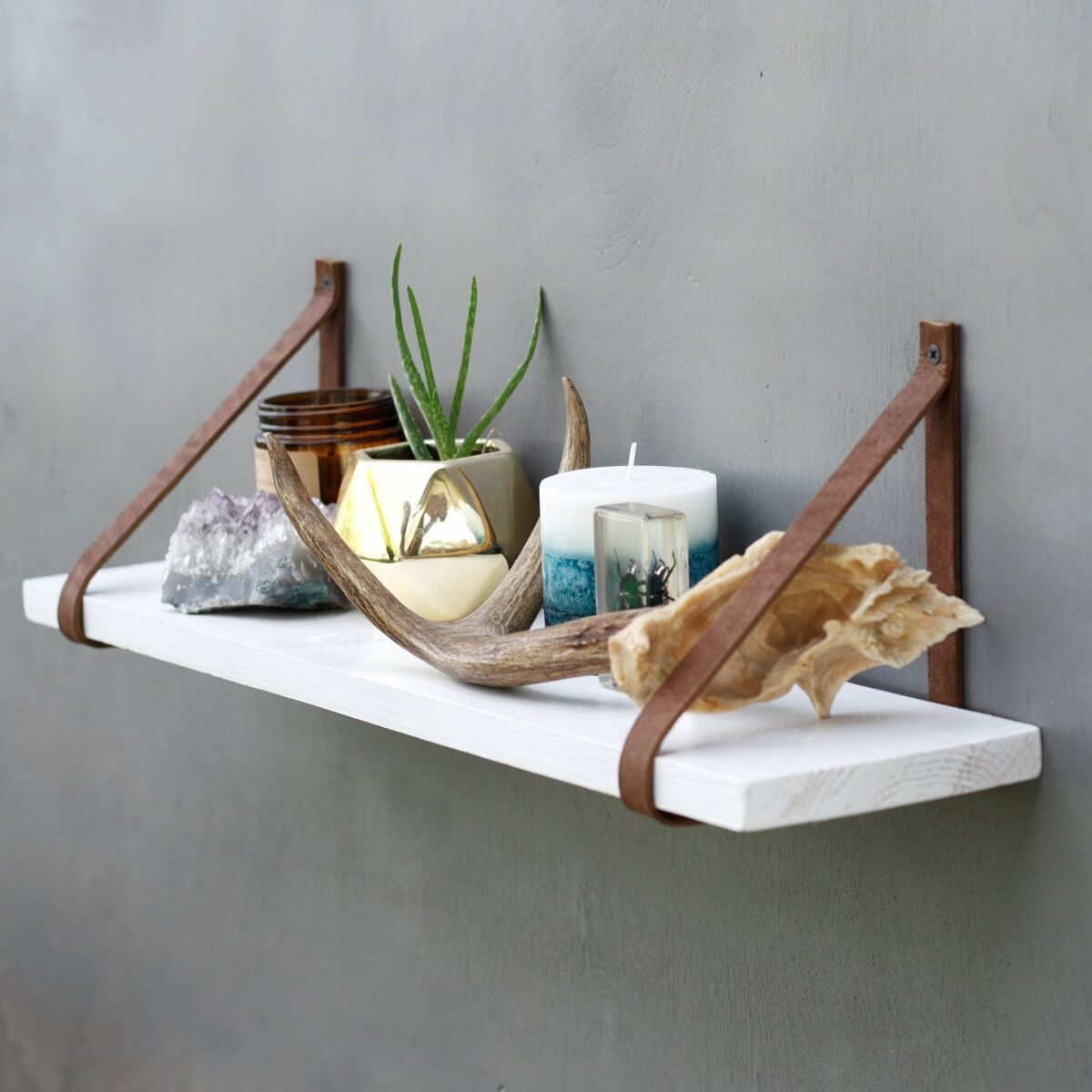 White Floating Shelves With Leather Strap