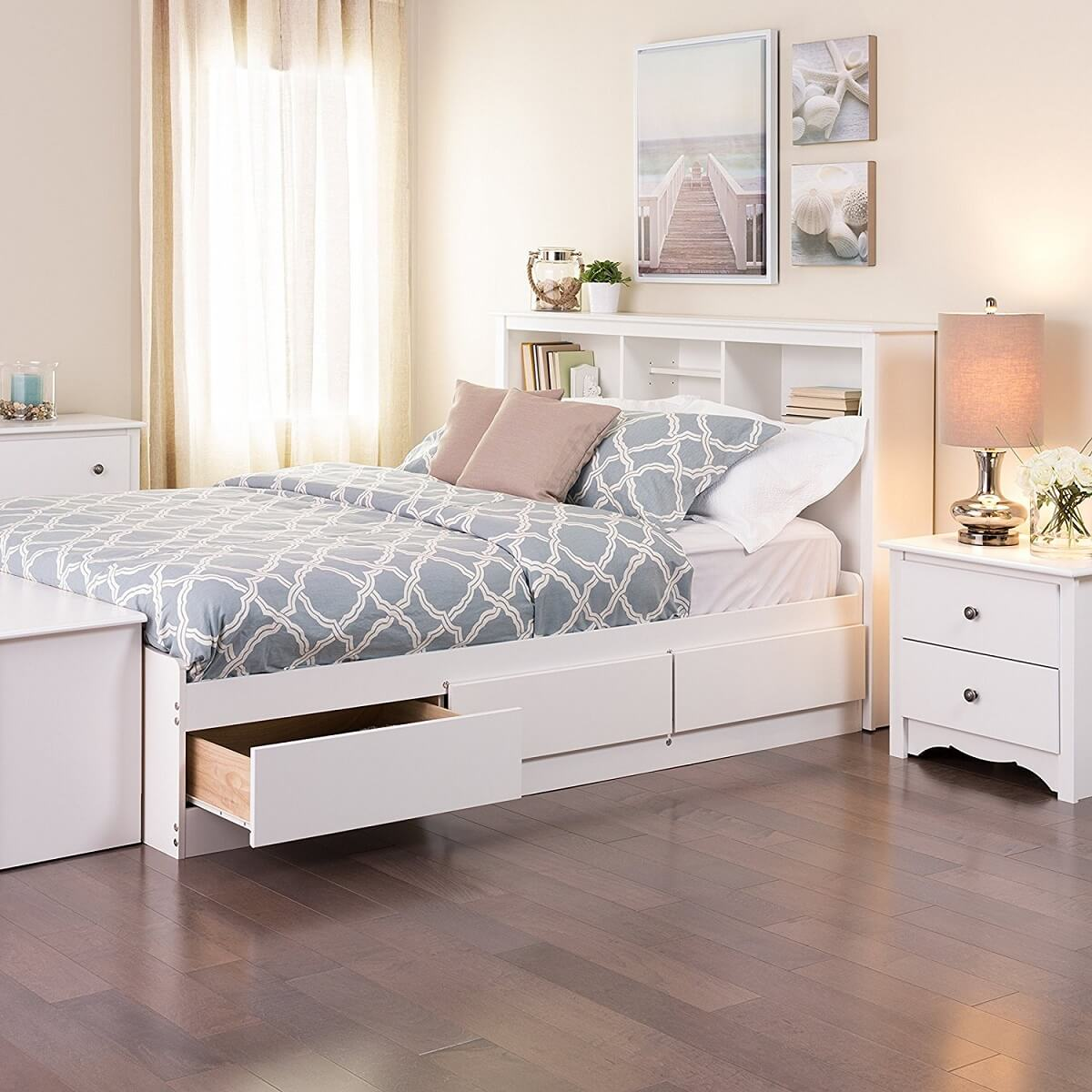 White Platform Storage Bed Frame