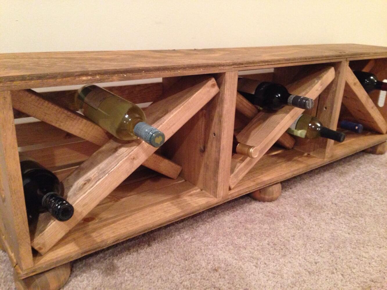 Wine Storage Entryway Bench