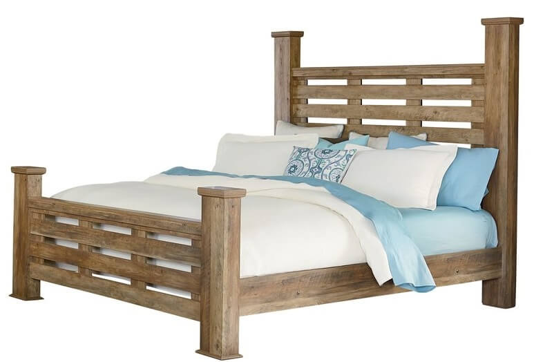 Wooden Bed Frame with Posts