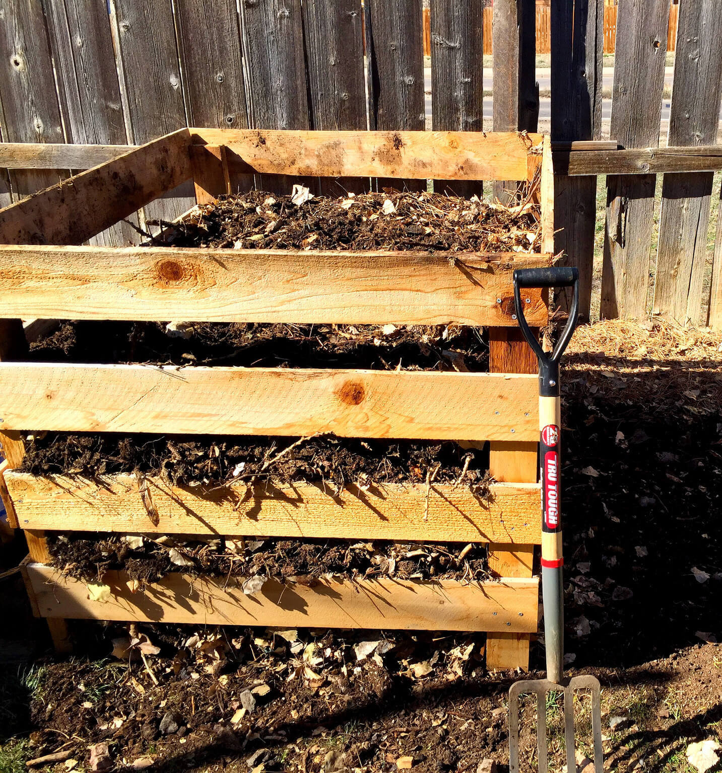 shovel and compost bin