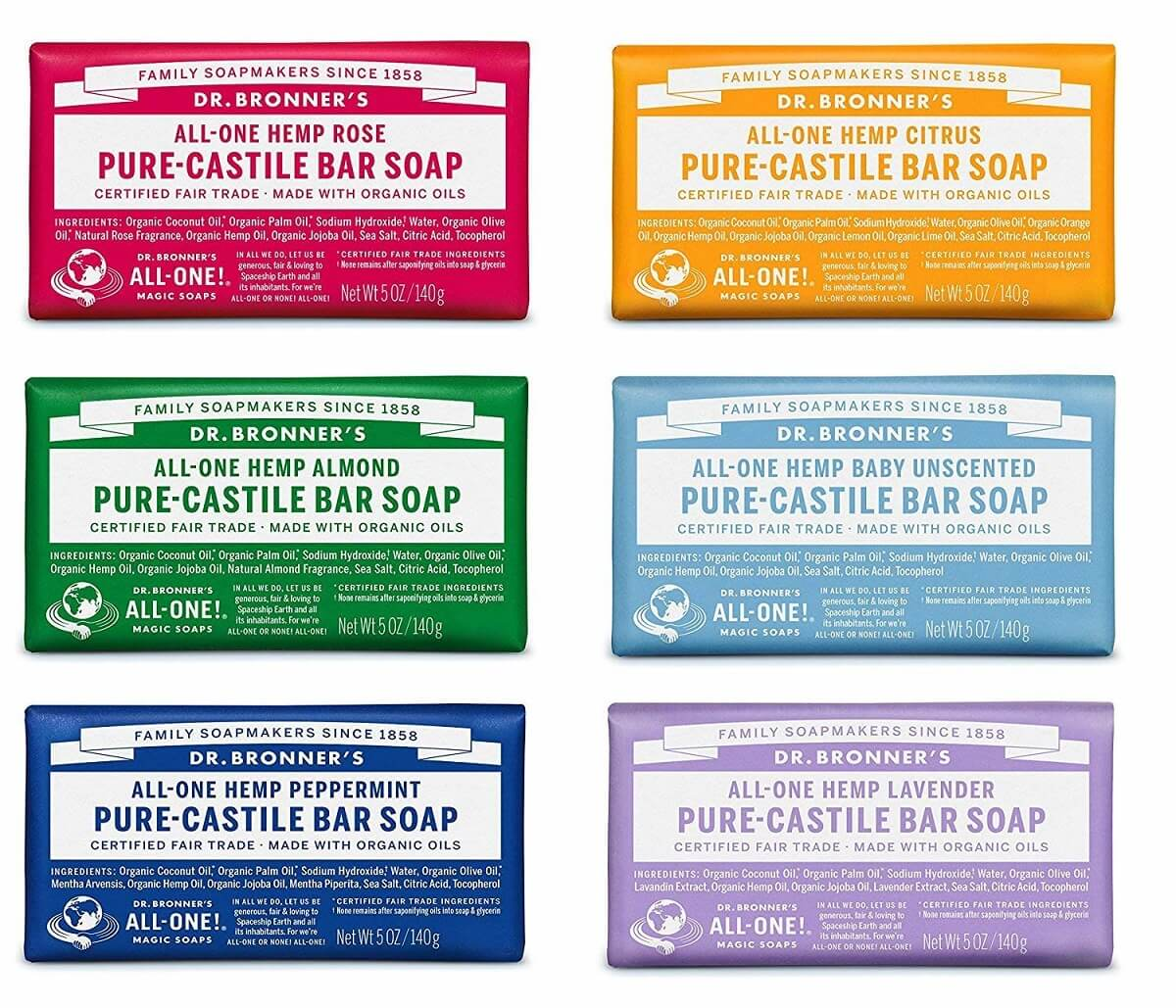 6 pack of dr bronners soap