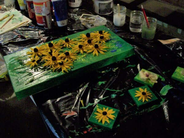 green canvas with black eyed susan flowers