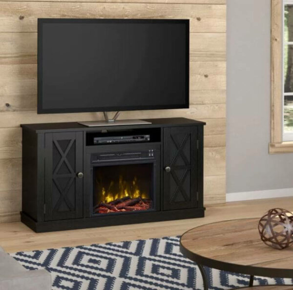 black painted electric fireplace