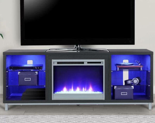 blue lighted electric fireplace
