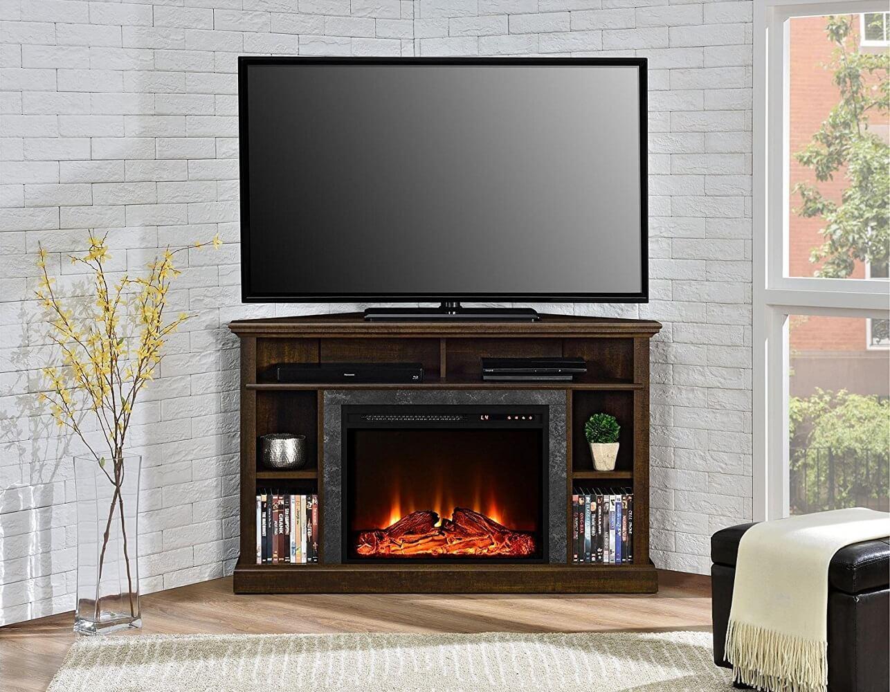 Corner Shelf Electric Fireplace