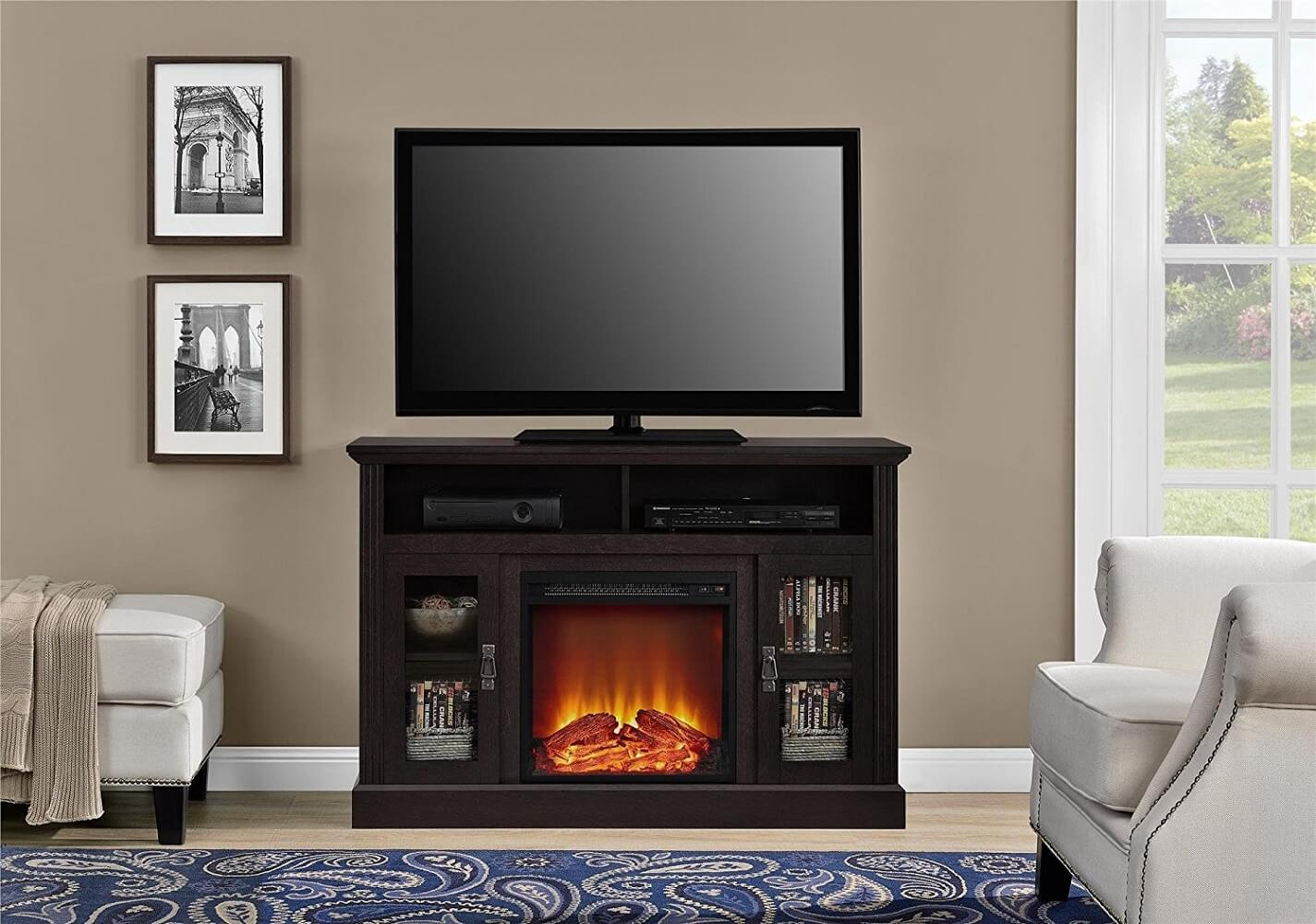 Espresso Television Stand Electric Fireplace