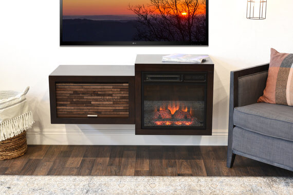 Floating Wall-mounted Electric Fireplace