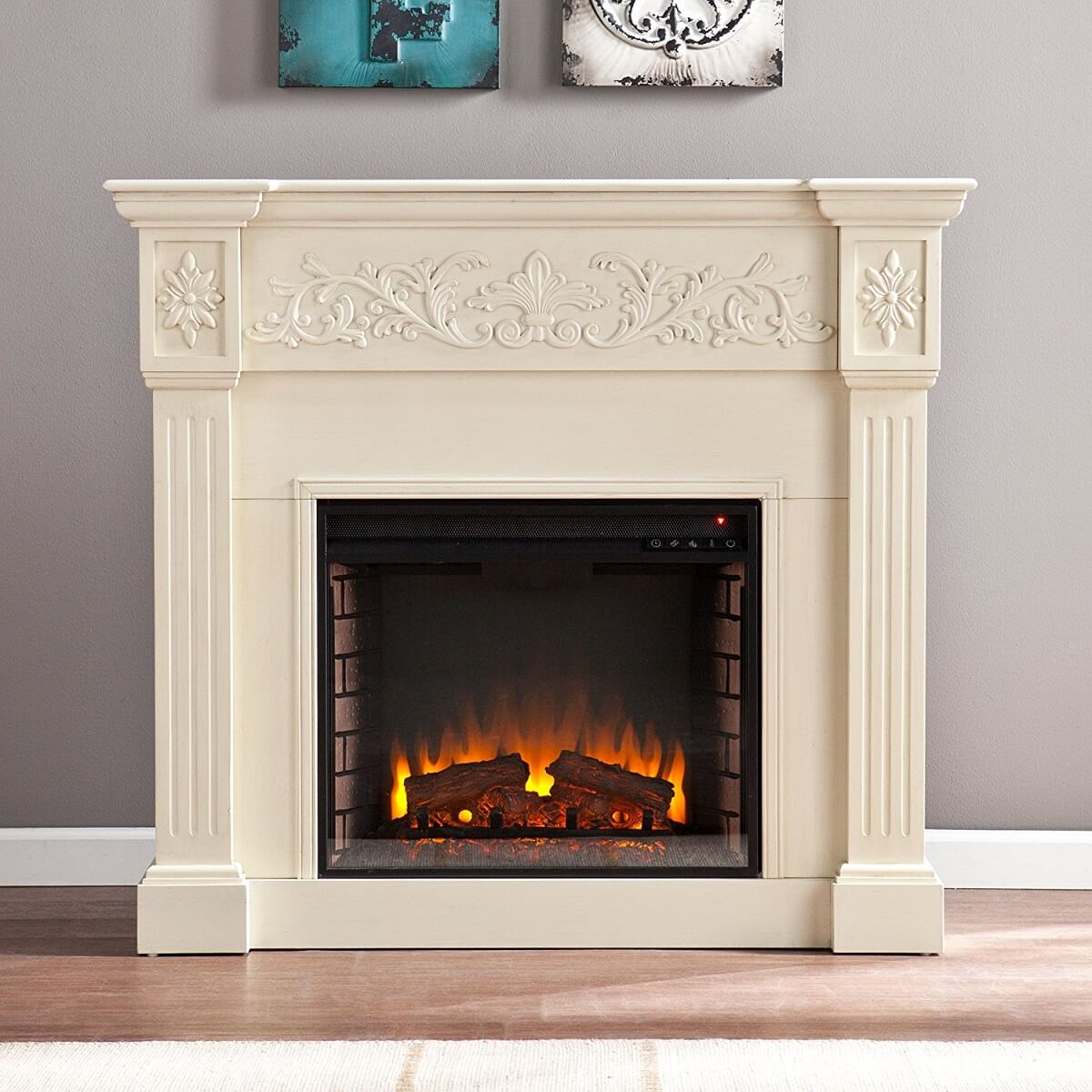 Large Ivory Electric Fireplace