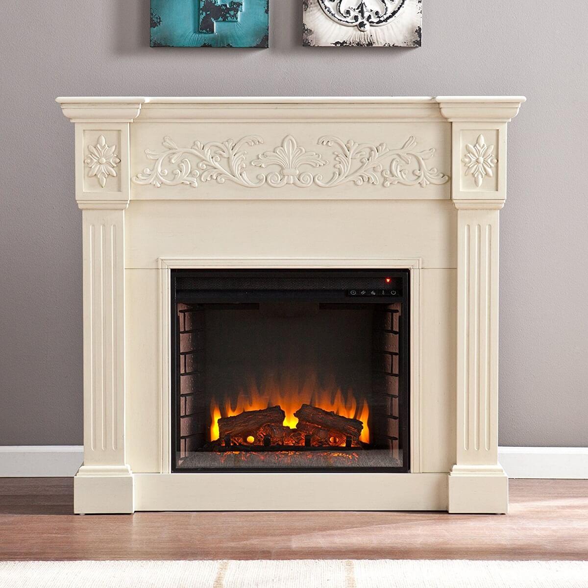 Large Ivory Electric Fireplace