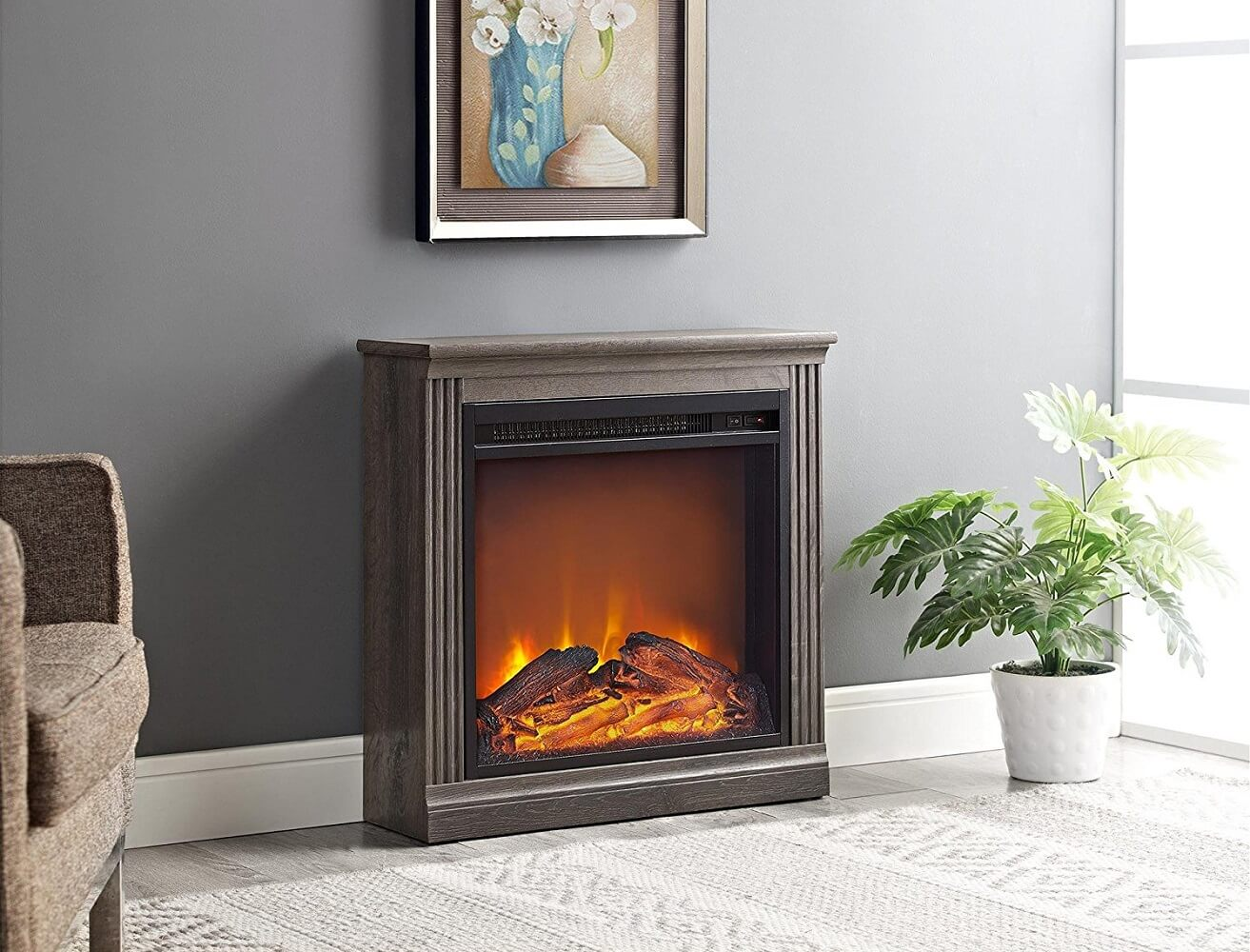 Narrow Brown Electric Wall Fireplace