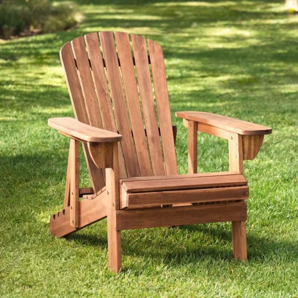 Natural Finish Wood Adirondack Chair