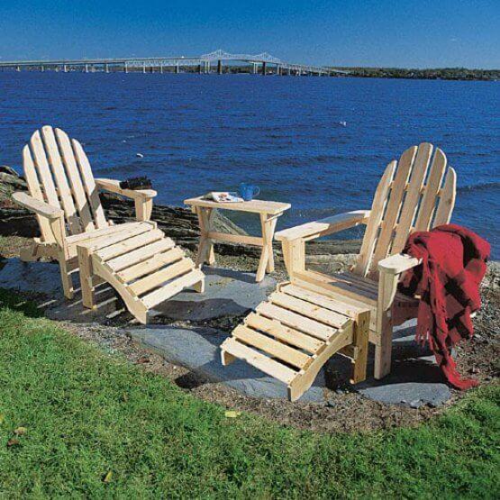 Rustic Natural Adirondack Set