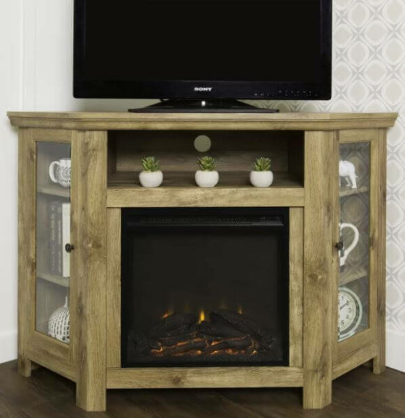 rustic wood fireplace