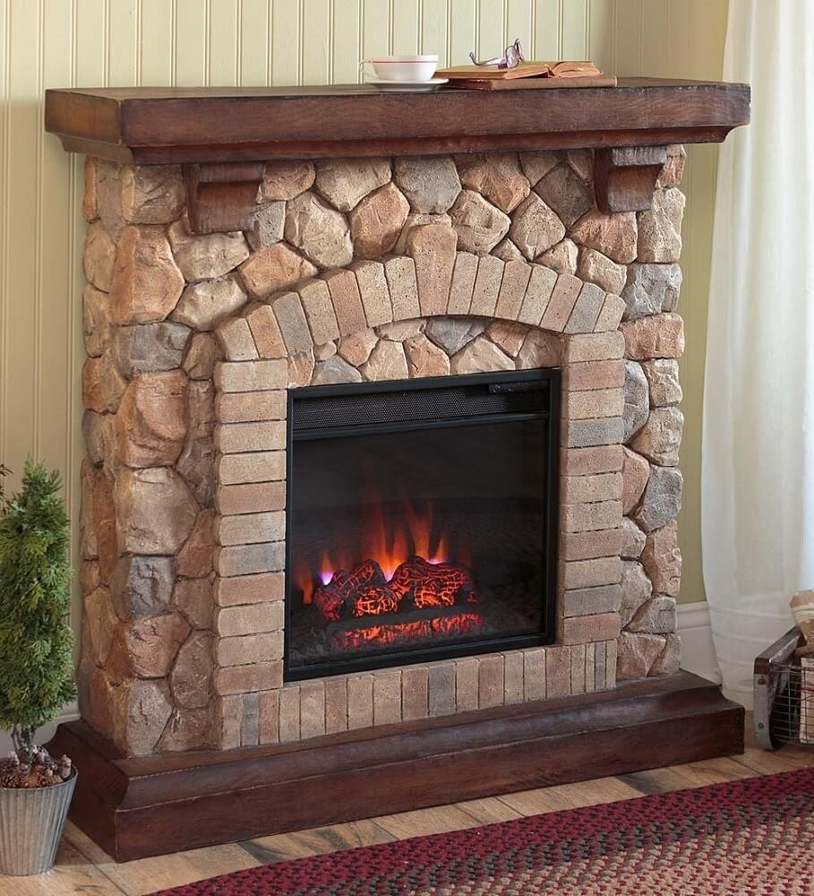 Small Stacked Stone Fireplace