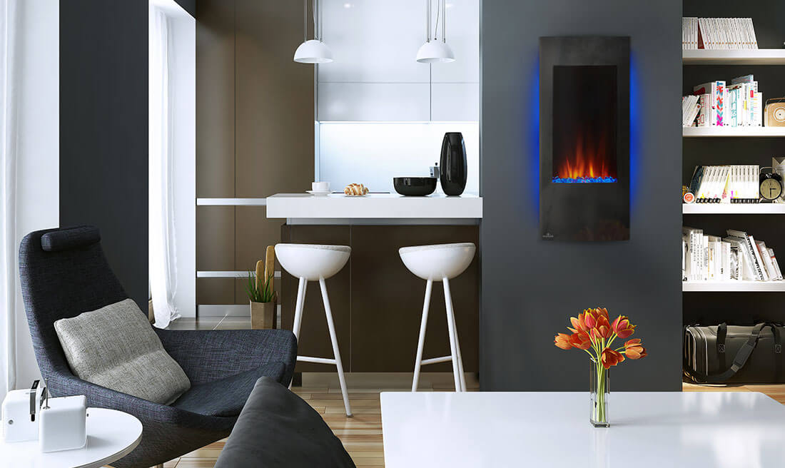 Vertical Wall-mounted Electric Fireplace