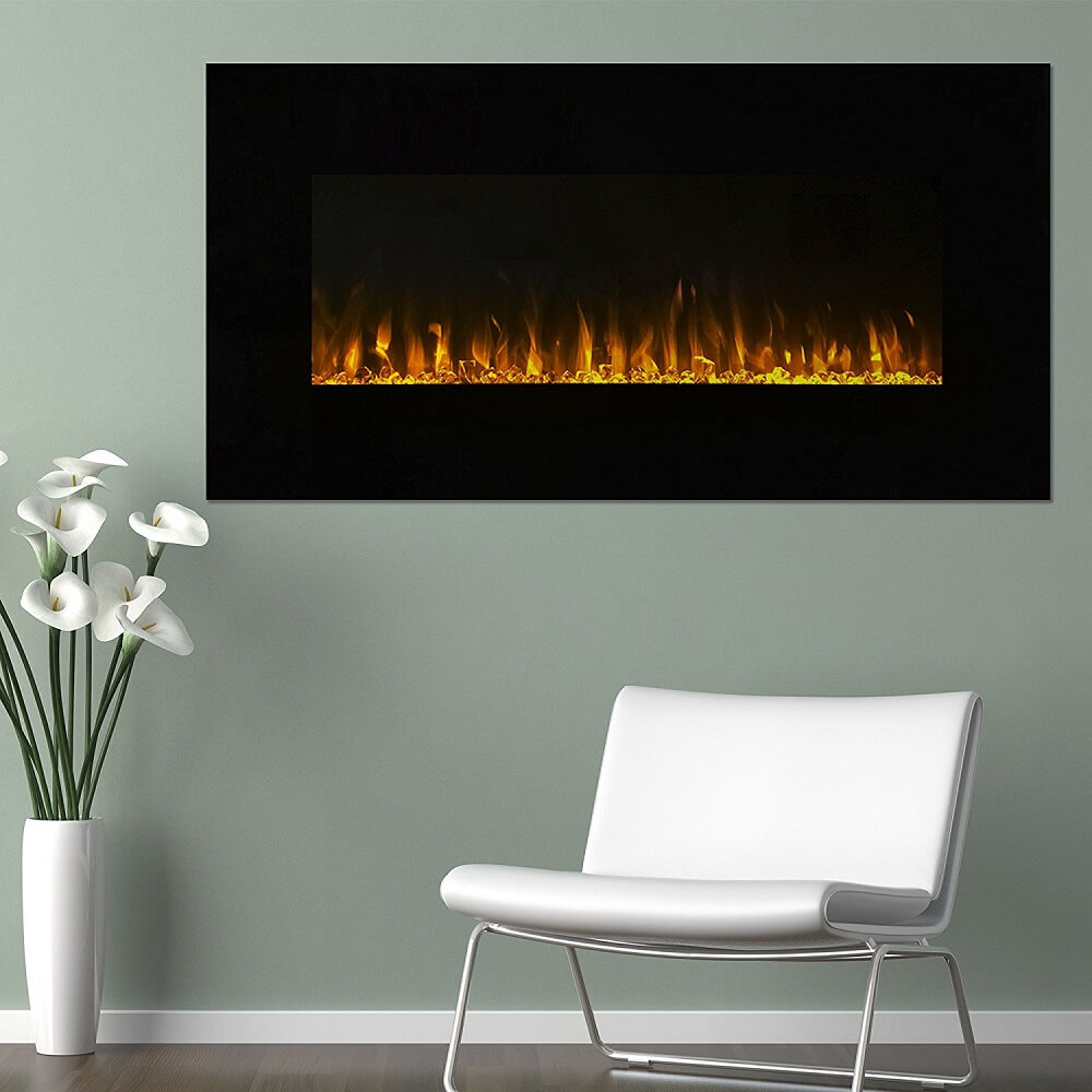 Wall-mounted LED Fireplace with Remote