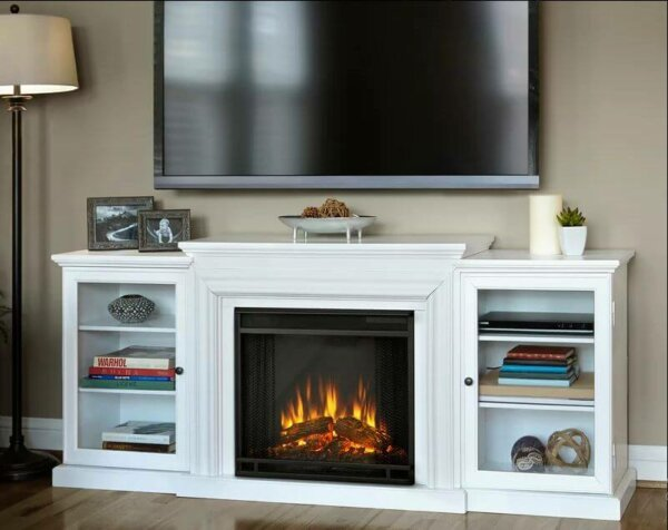 white television stand electric fireplace