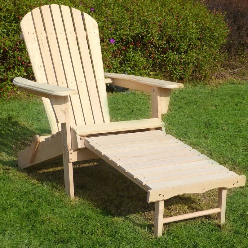 Wooden Adirondack Chair with Pullout Ottoman