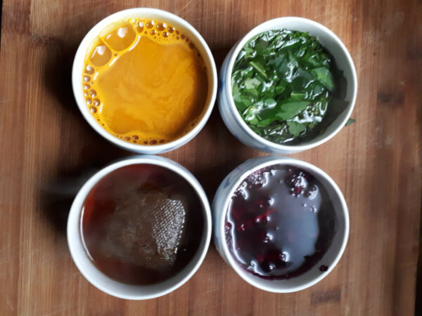 tumeric, tea, berry, and green leaves soaking in water to create dye
