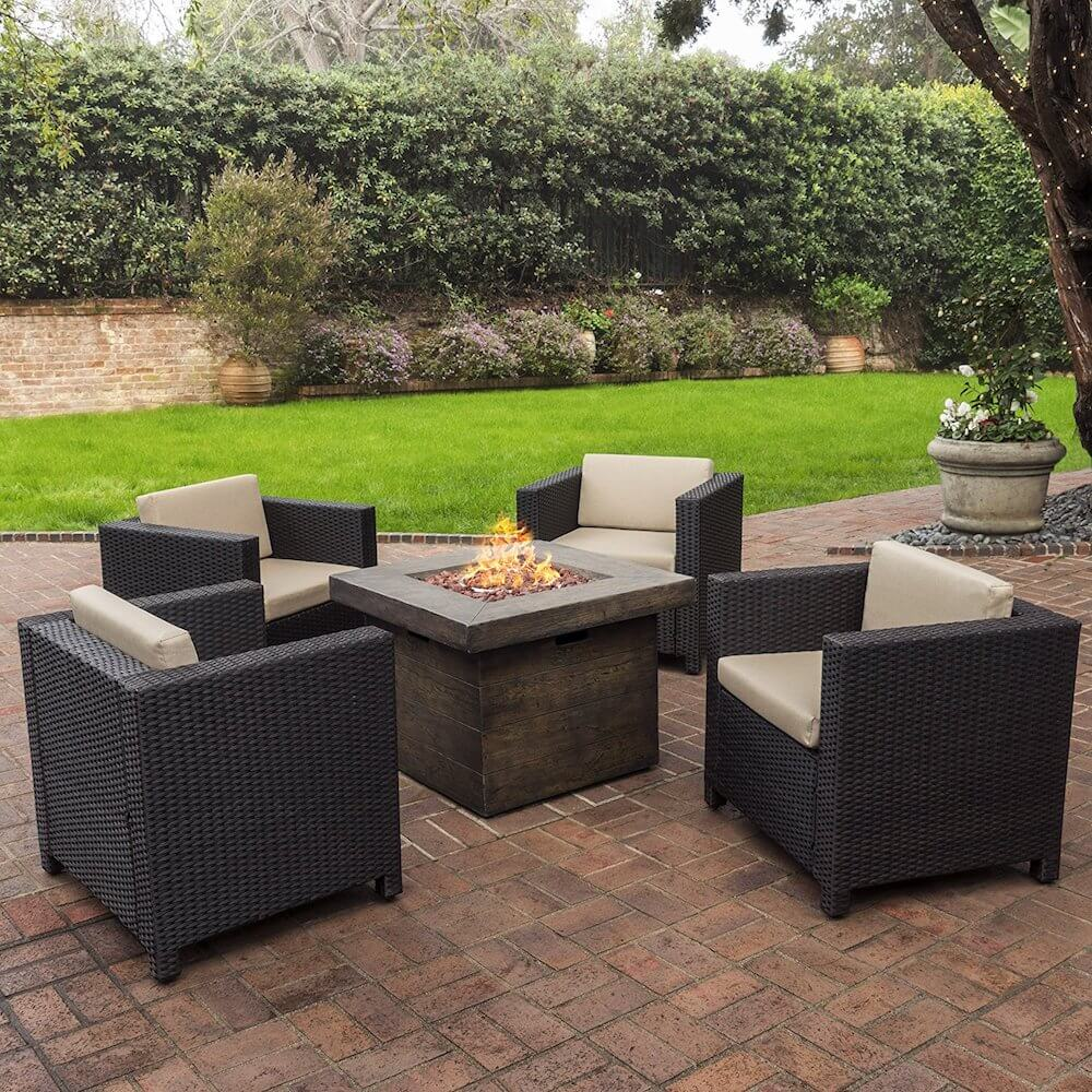 4 Piece Club Chair Set With Stone Fire Pit Table