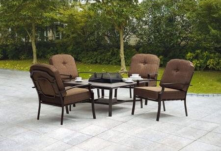 5-Piece Patio Set with Fire Pit Table