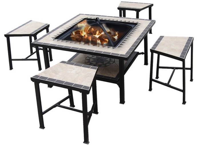 5-Piece Stainless Steel Fire Pit Table