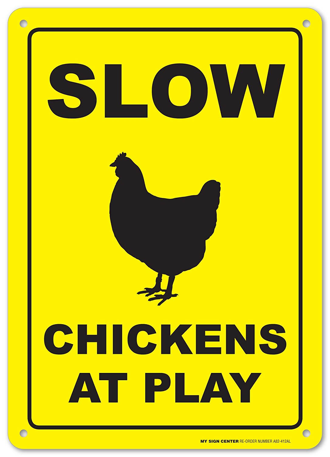 chickens at play sign