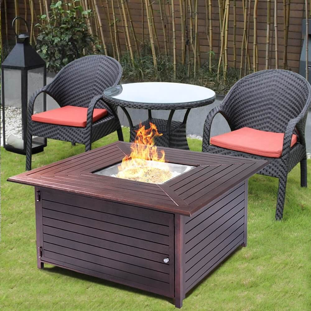 Aluminum Frame Fire Pit Table