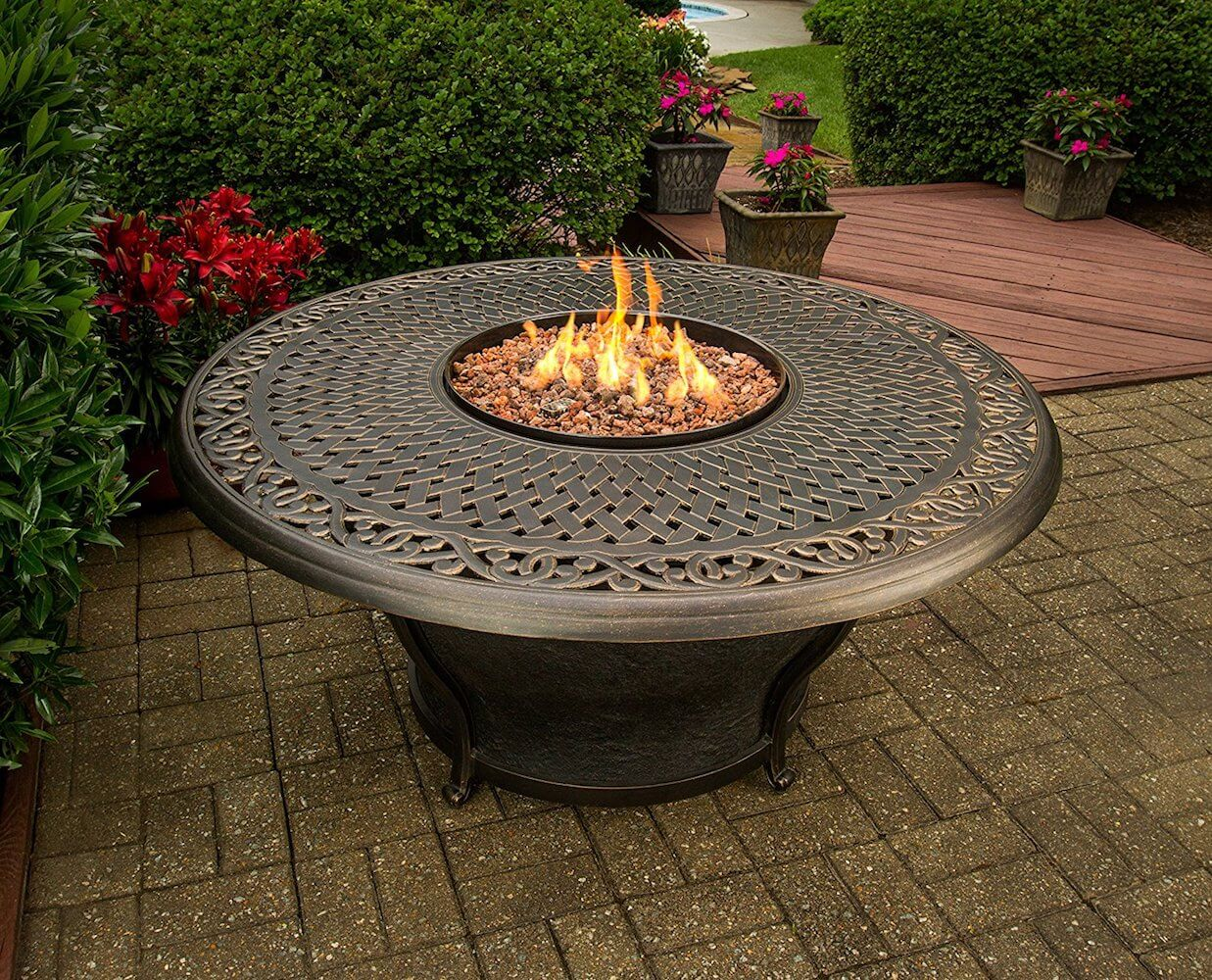 Antique Bronzed Round Fire Pit Table