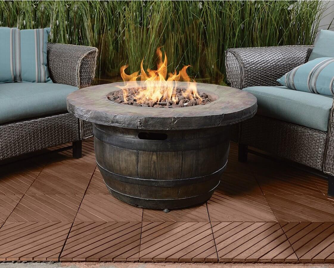Barrel-style Propane Fire Pit Table