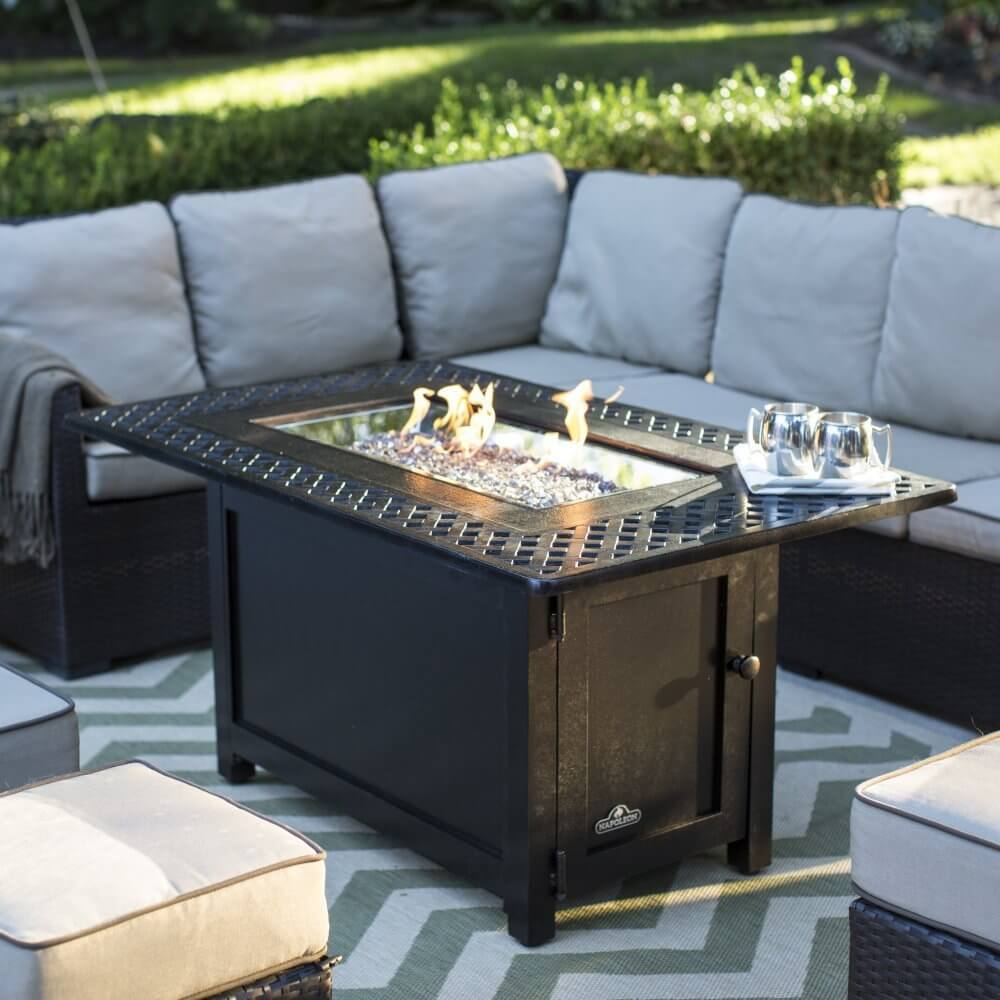 Bronze-finished Rectangular Fire Pit Table
