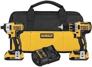 yellow dewalt cordless drill set