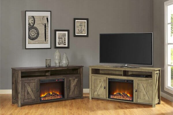 farmhouse inspired electric fireplace