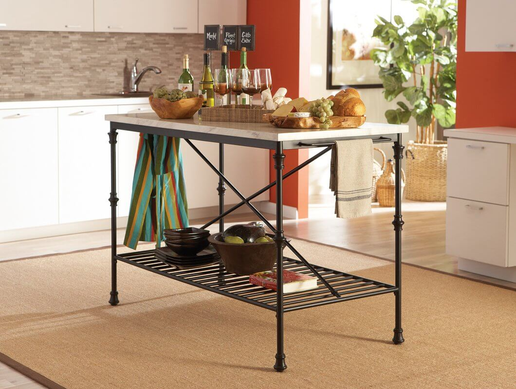 French Styled Metal Kitchen Island