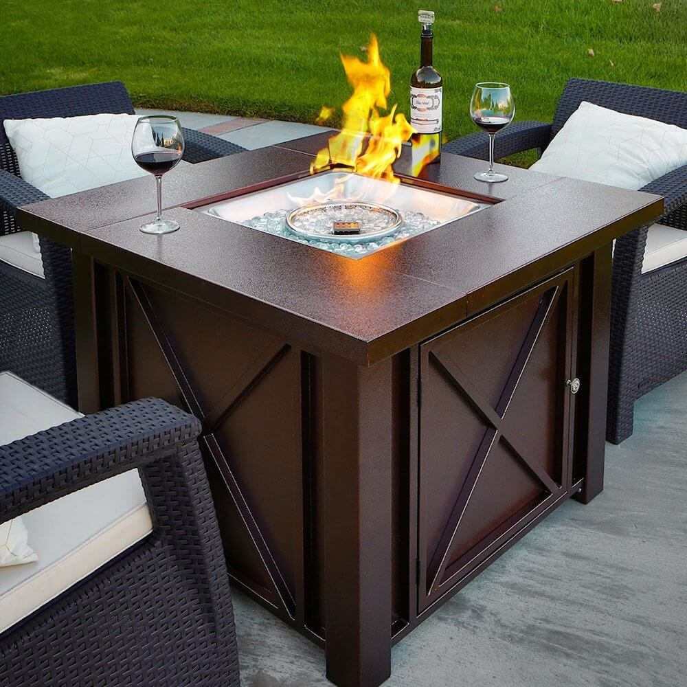 Hammered Bronze Steel Propane Fire Pit Table