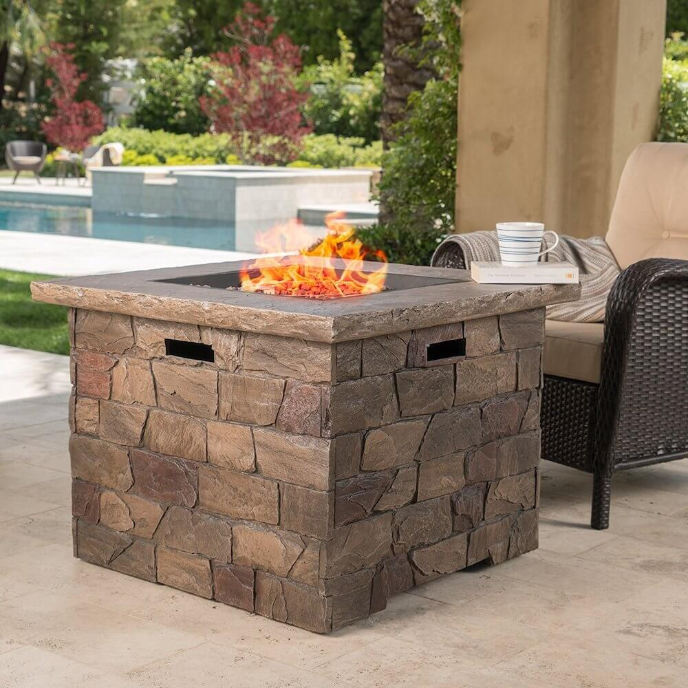 Natural Stone Fire Pit Table