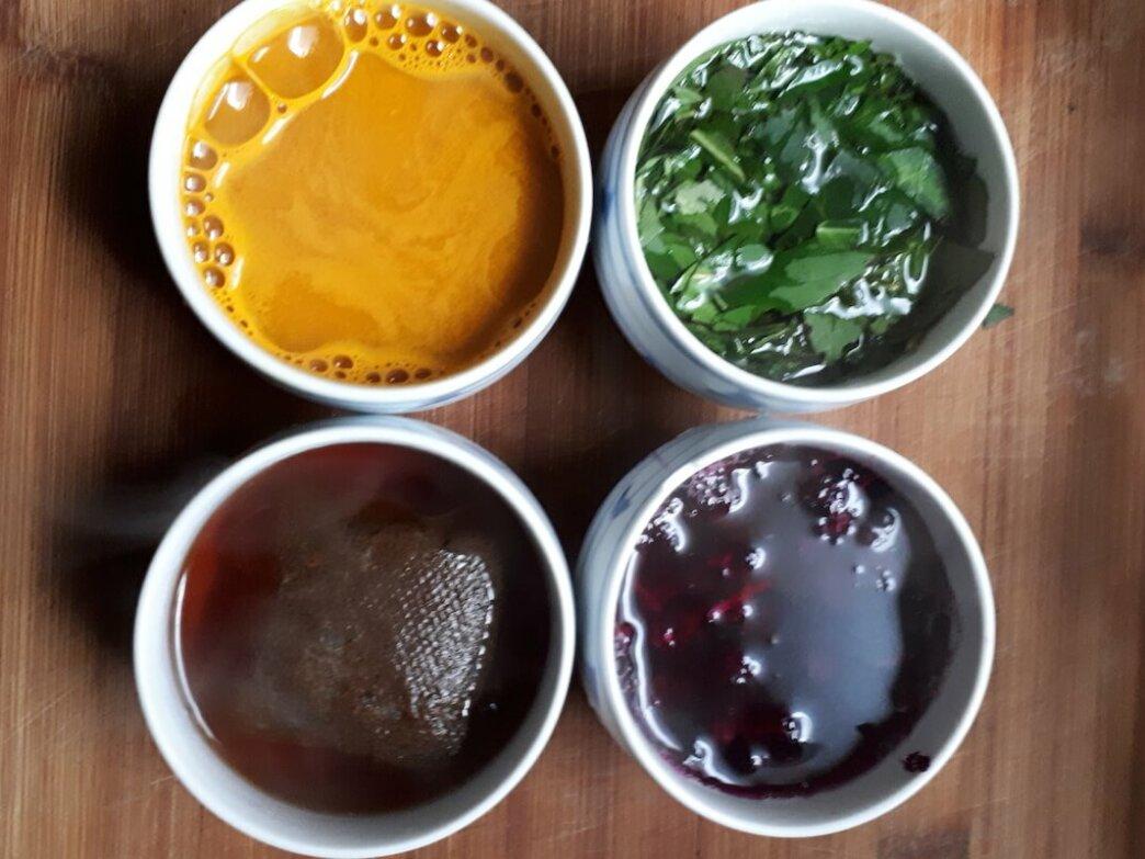 yellow dye, green dye, brown dye, purple dye