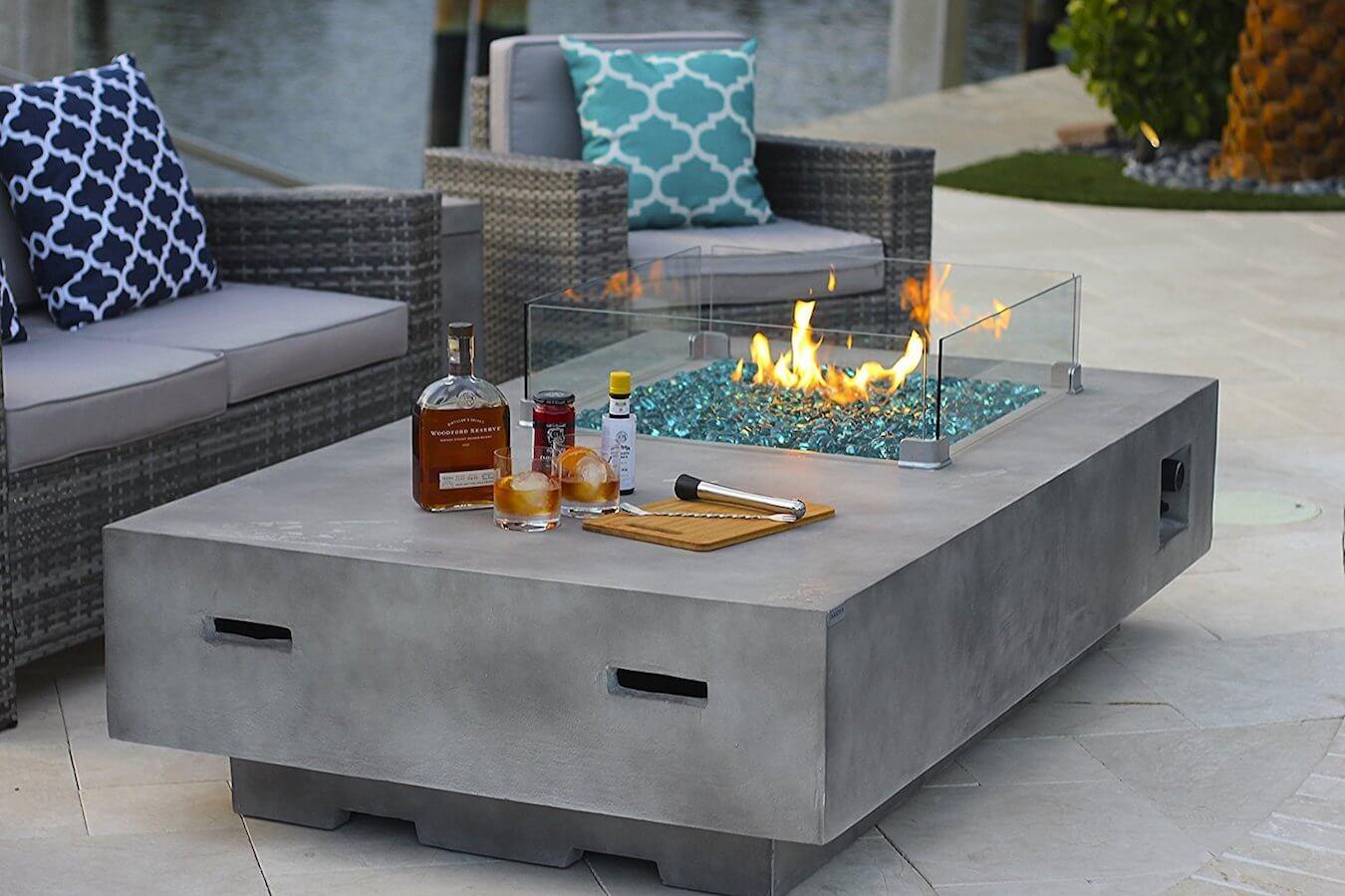 Rectangular Concrete Fire Pit Table