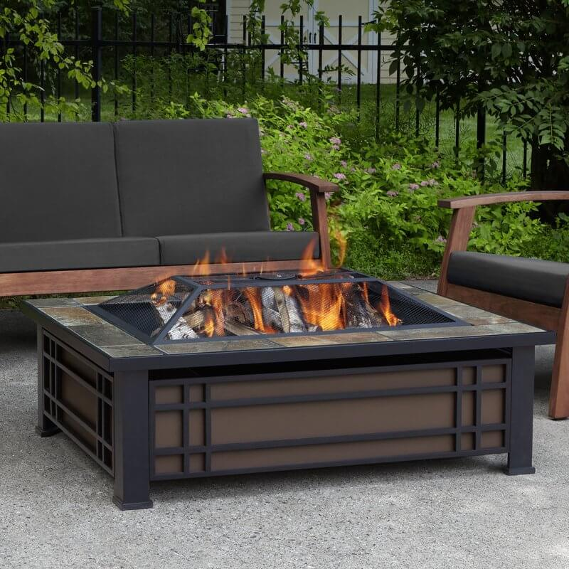 Rectangular Wood Burning Fire Pit Table