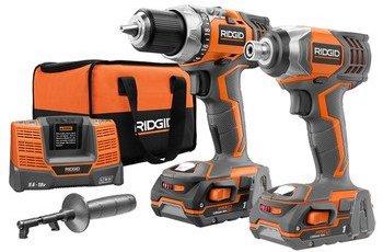 orange ridgid cordless drill set