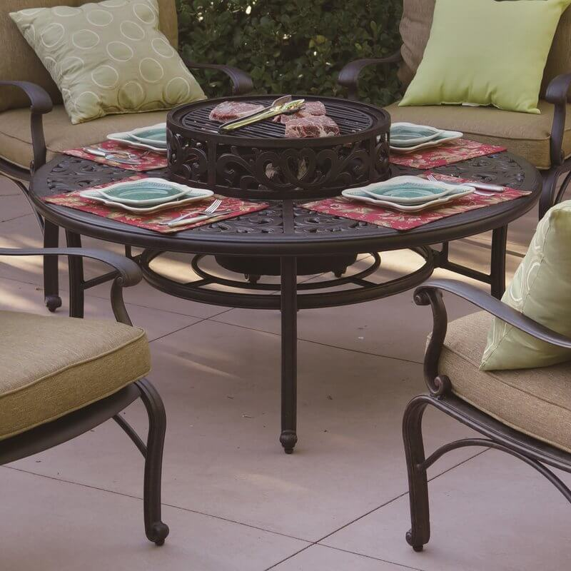 Round Wood-Burning Fire Pit Table