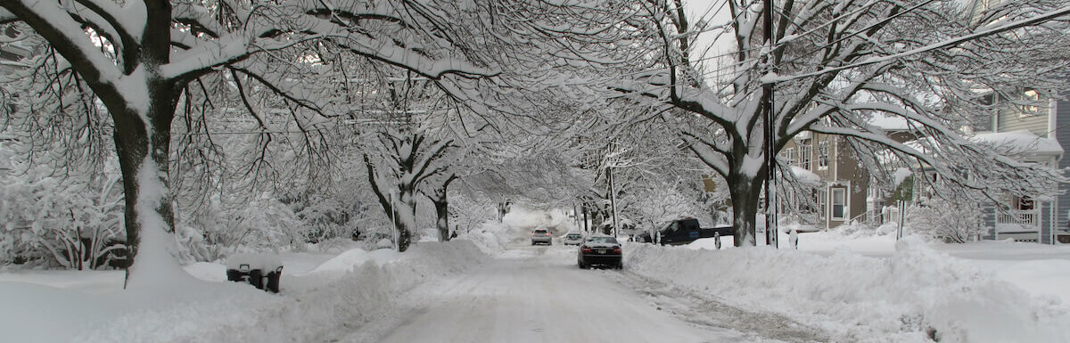 street covered in two feet of snow