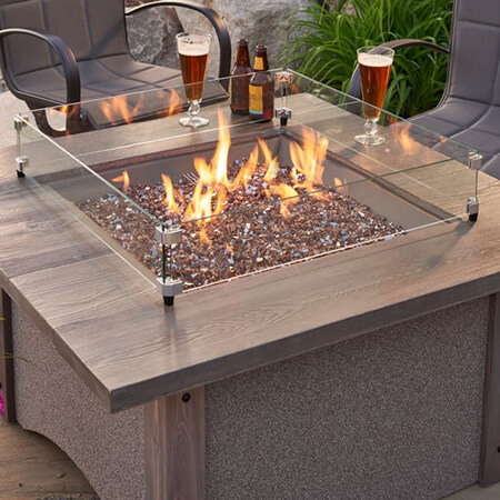Square Barnwood and Glass Fire Pit Table