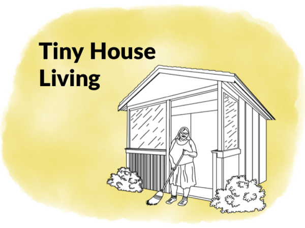 illustration of women outside of tiny house