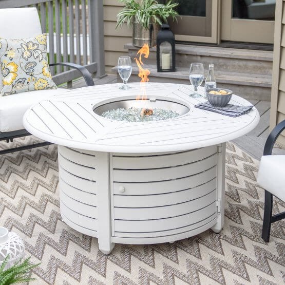 White Aluminum Fire Pit Table